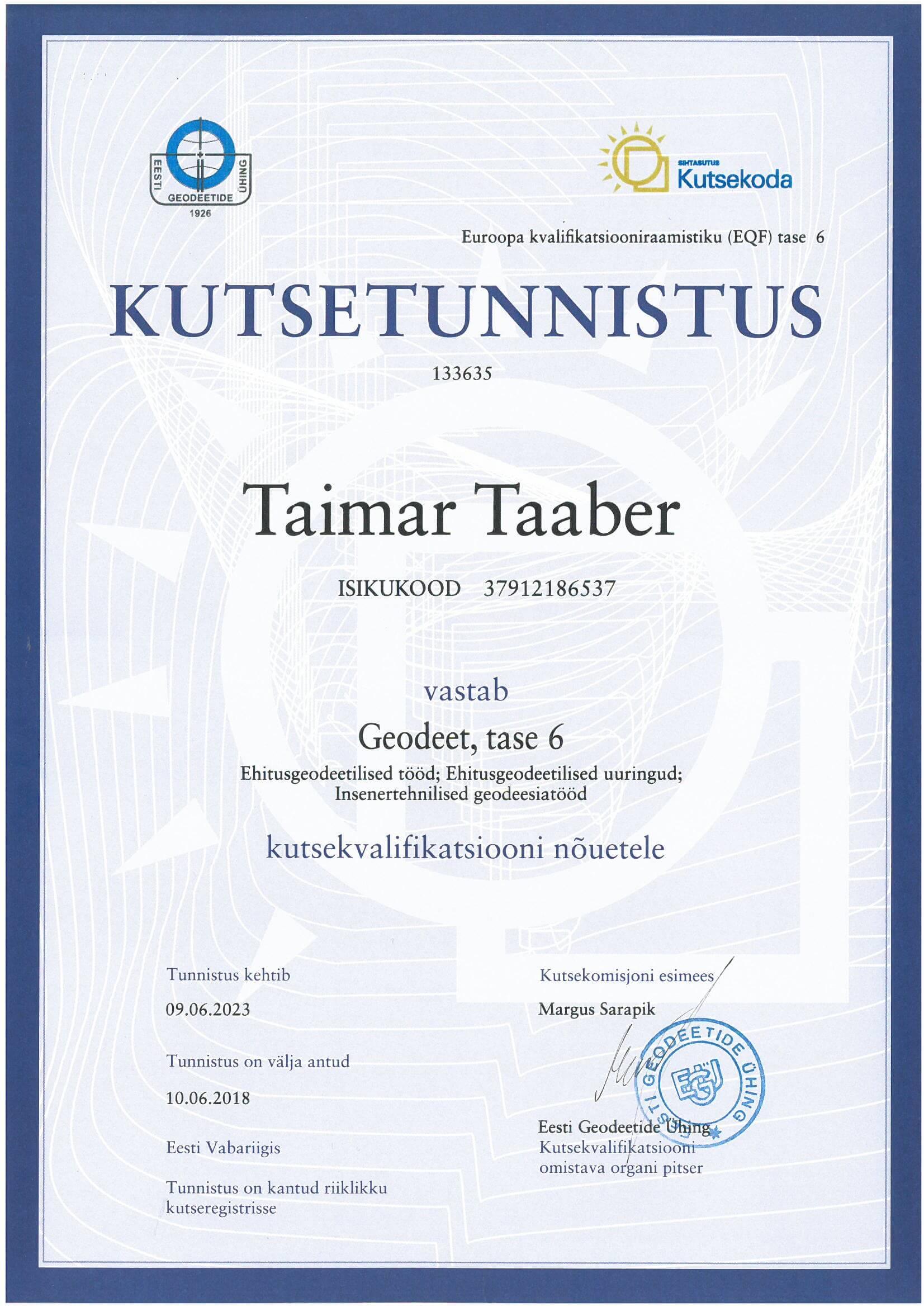 Kutsetunnistus Taimar Taaber